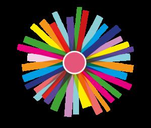 Das Logo für die botanische Nacht: Ein abstraktes, vielfarbiges Symbol, dass eine Feuerwerksexplosion darstellt. Der Hintergrund ist transparent.