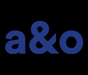 Das Logo von a&o Hostels: In dunkelblauer Schrift werden die Buchstaben