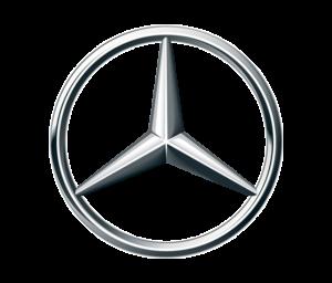 Das Logo von Mercedes-Benz: Der silberfarbene Mercedes-Stern auf transparentem Hintergrund.