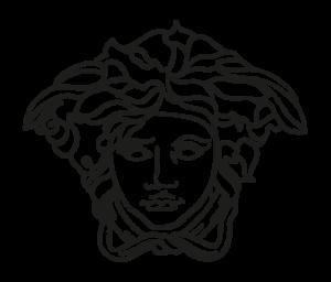 Das Logo von Versace: Ein stilisiertes Bild eines Kopes mit wildem Haar. Streifen unterhalb des Kinns deuten darauf hin, dass das Haar ein pompöser Hut ist. Die Figur wird nur durch Linien dargestellt. Der Hintergrund ist transparent.
