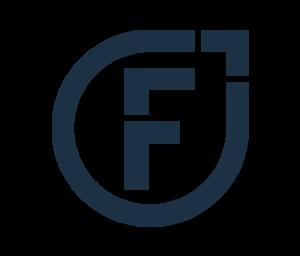 Logo von Felix1: Die Bildmarke in dunkelblauer Farbe und dem Buchstaben F.