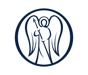 Logo von Freshfields. Abgebildet ist der Freshfields-Engel in dunkelblauer Farbe.