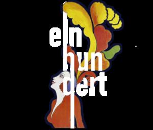 Das Logo vom Friedrichstadt-Palast Berlin: Ein abstraktes Gemälde einer Frau mit Federhut und der stilisierte Schriftzug