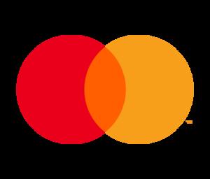 Das Logo von Mastercard: Zwei Kreise, einer rot, der andere orange, überschneiden sich und formen eine Mischfarbe in Form einer spitzen Elipse. Der Hintergrund ist transparent.