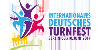 Buntes Logo von dem Internationalen Deutschen Turnfest auf transparentem Hintergrund.