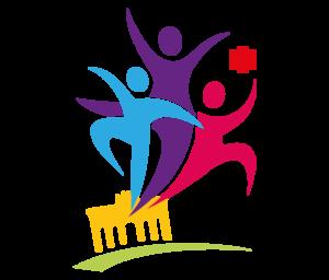 Das Logo für das Turnfest: Drei symbolhafte Menschen tanzen aus dem Brandburger Tor heraus und nehmen den Hauptteil des Logos ein. Jeder Mensch ist unterschiedlich gefärbt, himmelblau, tieflila und magenta. Das Tor ist gelb gefärbt mit einem grünen Strich darunter. Rechts oben befindet sich ein stilisiertes, rotes Kreuz. Der Hintergrund ist transparent.