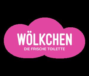 Das Logo von der Firma Wölkchen. Eine pinke, stilisierte Wolke auf transparentem Hintergrund. Auf der Wolke befinden sich in weißer Schrift die Worte