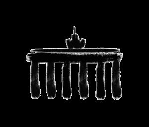 Das Logo von Together Berlin: Abgebildet ist das brandenburger Tor. Das Tor ist stilisiert, in schwarzer Farbe eingefärbt und zeigt Abnutzungsspuren.