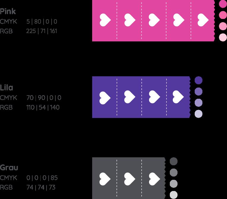 Corporate Design Elemente für Wölkchen. Zu sehen sind verschiedene Farbvarianten und Kontraste.