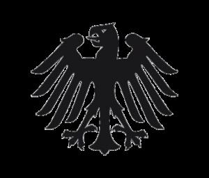 Schwarzer, stilisierter Bundesadler auf transparentem Hintergrund.