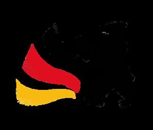 Das Logo des Tag der deutschen Einheit 2016: Ein stilisierter, schwarzer Bär überschneidet sich mit einer wellenförmigen, auffächernden Flagge. Die Flagge ist links, der Bär rechts positioniert. Die Flagge hat die Farben Schwarz, Rot, Gold von oben nach unten. Beides, die Flagge und der Bär zeigen leichte Verschleißspuren. Der Hintergrund ist transparent. (kleiner)